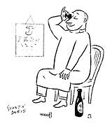 (An optometrist having an eye bath using wine)