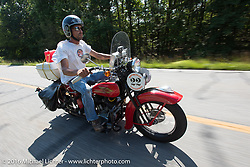 Jeff Lauritsen riding his 1934 Harley-Davidson VLD during Stage 3 of the Motorcycle Cannonball Cross-Country Endurance Run, which on this day ran from Columbus, GA to Chatanooga, TN., USA. Sunday, September 7, 2014.  Photography ©2014 Michael Lichter.
