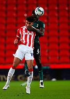 Football - 2020 / 2021 League Cup - Quarter Final - Stoke City vs Tottenham Hotspur - bet365 Stadium<br /> <br /> Davinson Sanchez of Tottenham Hotspur and Jacob Brown of Stoke City at Bet365 Stadium<br /> <br /> COLORSPORT/LYNNE CAMERON