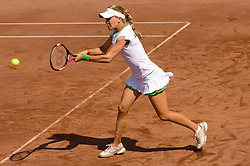 Eugenie Bouchard of Canada playing against  Masa Zec Peskiric of Slovenia during the second day of the tennis Fed Cup match between Slovenia and Canada at Bonifika, on April 17, 2011 in Koper, Slovenia.  (Photo by Vid Ponikvar / Sportida)