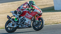 September 28, 2018 - 50, Eugene Laverty, IRL, Aprilia RSV4 RF, Milwaukee Aprilia, SBK 2018, MOTO - SBK Magny-Cours Grand Prix 2018, Free Practice 1, 2018, Circuit de Nevers Magny-Cours, Acerbis French Round, France ,September 28 2018, action during the SBK Free Practice 1 of the Acerbis French Round on September 28 2018 at Circuit de Nevers Magny-Cours, France (Credit Image: © AFP7 via ZUMA Wire)