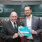 31.05.2018.          <br /> Limerick and Clare Education Training Board launch Youth Work Plan 2018-2021 at Thomond Park Limerick with Pat Breen TD, Minister of State with special responsibility for Trade, Employment, Business, EU Digital Single Market and Data Protection, Clare. <br /> <br /> Pictured at the event were receiving a NQSF Certificate from Cllr. Kieran O'Hanlon was West End Youth Centre, Our Lady of Lourdes. Picture: Alan Place