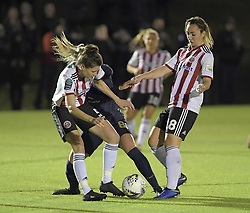 February 20, 2019 - Sheffield, United Kingdom - A tussle between Danielle Cox, Maddy Cusack (Sheffield United) and Mollie Green (Manchester United) during the  FA Women's Championship football match between Sheffield United Women and Manchester United Women at the Olympic Legacy Stadium, on February 20th Sheffield, England. (Credit Image: © Action Foto Sport/NurPhoto via ZUMA Press)