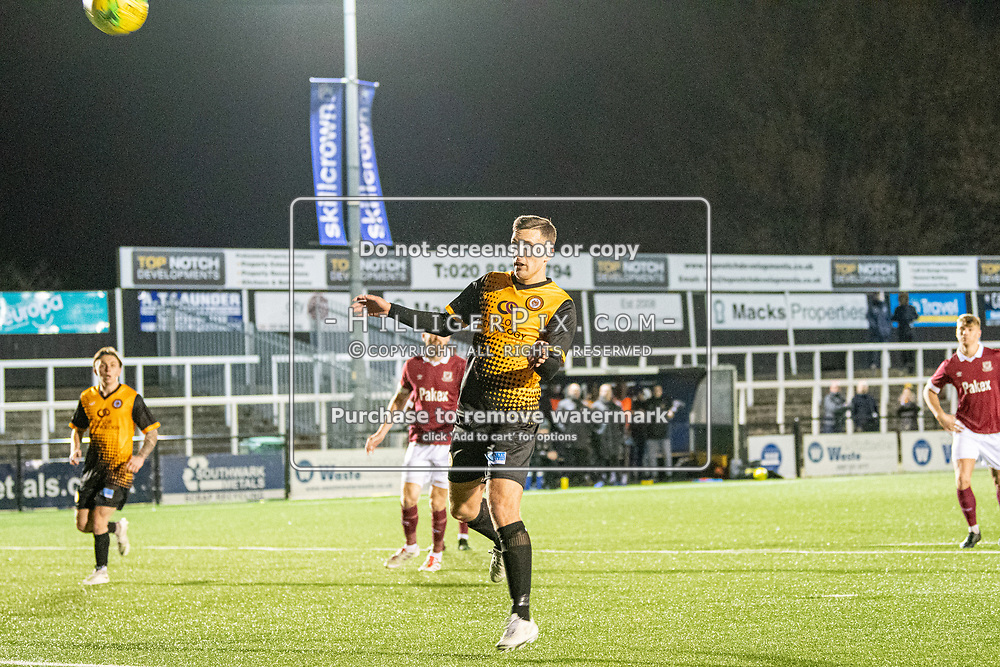 BROMLEY, UK - DECEMBER 07: Joseph Taylor, of Cray Wanderers FC, tries to head the rebound after his penalty hits the post during the BetVictor Isthmian Premier League match between Cray Wanderers and Potters Bar Town at Hayes Lane on December 7, 2019 in Bromley, UK. <br /> (Photo: Jon Hilliger)