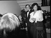 """Reception For """"Sheba"""" Ireland's Eurovision Entrants..1981..01.04.1981..04.01.1981..1st April 1981..The Minister for Posts and Telegraphs,Mr Albert Reynolds TD,held a reception in the State Apartments,Dublin Castle on the occasion of the Grand Prix of the Eurovision Song Contest 1981. The contest was being held in Ireland after Johnny Logans win at the Hague in 1980. Ireland's representatives this year are """"Sheba"""" singing  """"Horoscopes""""...The Minister,Albert Reynolds,and his wife Kathleen are pictured with """"Sheba"""" at the Eurovision Reception in Dublin Castle."""