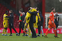 Football - 2020 / 2021 Sky Bet Championship - AFC Bournemouth vs. Barnsley - The Vitality Stadium<br /> <br /> Bansley Head Coach Valerien Ismael hugs Alex Mowatt of Barnsley after the final whistle at the Vitality Stadium (Dean Court) Bournemouth <br /> <br /> COLORSPORT/SHAUN BOGGUST