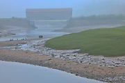 Covered bridge in fog<br />