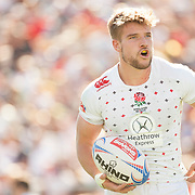 England captain Tom Mitchell prepares to take a conversation as England beat the Kenya 21-14 in their third Group B match of the 2015 USA Sevens leg of the HSBC Sevens World Series (Round 5) at Sam Boyd Stadium in Las Vegas, Nevada. Friday February 13, 2015.<br /> <br /> Picture by Jack Megaw   www.jackmegaw.com<br /> +44 7481 764811<br /> jack@jackmegaw.com<br /> 13/02/2015