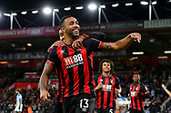 Goal - Callum Wilson (13) of AFC Bournemouth celebrates scoring a goal to give a 1-0 lead to the home team during the Premier League match between Bournemouth and Huddersfield Town at the Vitality Stadium, Bournemouth, England on 4 December 2018.