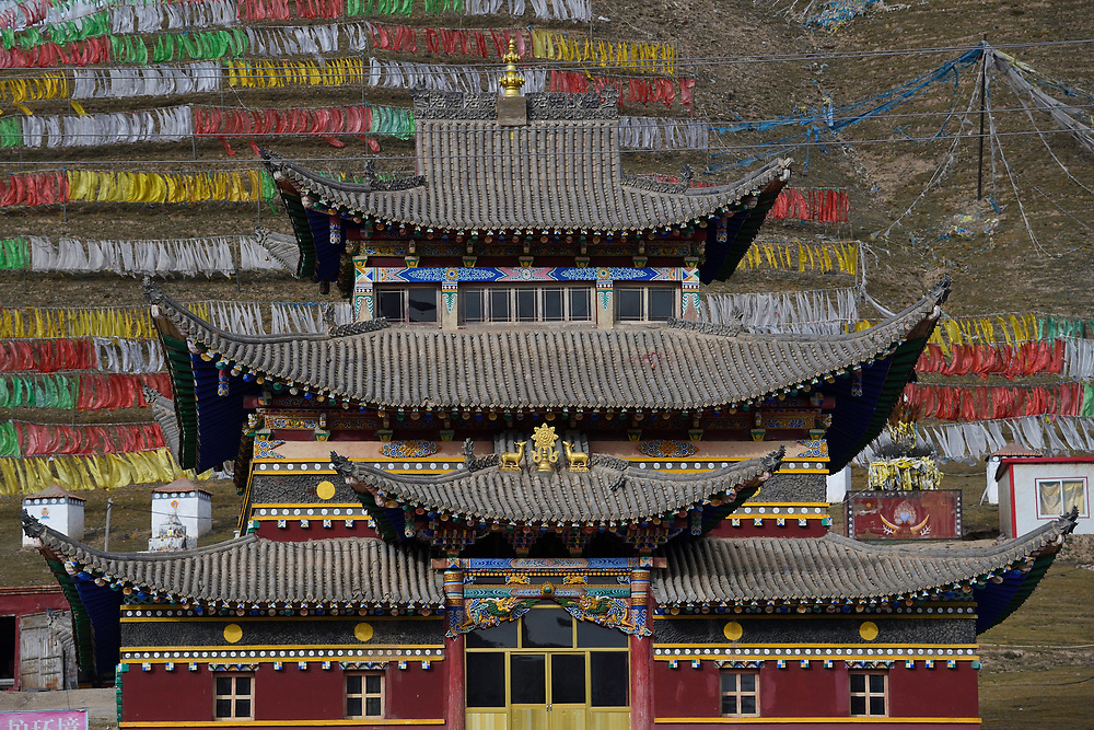 Lama Buddhist temple in Wenquan town, Tibetan Plateau, Qinghai, China