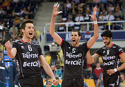 Lukasz Zygadlo, Osmany Portuondo Juantorena and Neves Leandro Vissotto of Trentino celebrate at  final match of CEV Indesit Champions League FINAL FOUR tournament between Dinamo Moscow, RUS and Trentino BetClic, ITA on May 2, 2010, at Arena Atlas, Lodz, Poland. Trentino defeated Dinamo 3-0 and became Winner of the Champions League. (Photo by Vid Ponikvar / Sportida)