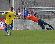 Oranbay's Damien Glynn is delighted to have saved the penalty that  beat St Bernards in Terryland. Photo:Andrew Downes