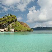 Misool eco resort: water bungalows around the lagoon.