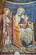 Frescoes depicting the  Madonna with Chid on the interior of the Romanesque Baptistery of Parma, circa 1196, (Battistero di Parma), Italy .<br /> <br /> If you prefer you can also buy from our ALAMY PHOTO LIBRARY  Collection visit : https://www.alamy.com/portfolio/paul-williams-funkystock/romanesque-art-antiquities.html<br /> Type -     Parma    - into the LOWER SEARCH WITHIN GALLERY box. <br /> <br /> Visit our ROMANESQUE ART PHOTO COLLECTION for more   photos  to download or buy as prints https://funkystock.photoshelter.com/gallery-collection/Medieval-Romanesque-Art-Antiquities-Historic-Sites-Pictures-Images-of/C0000uYGQT94tY_Y