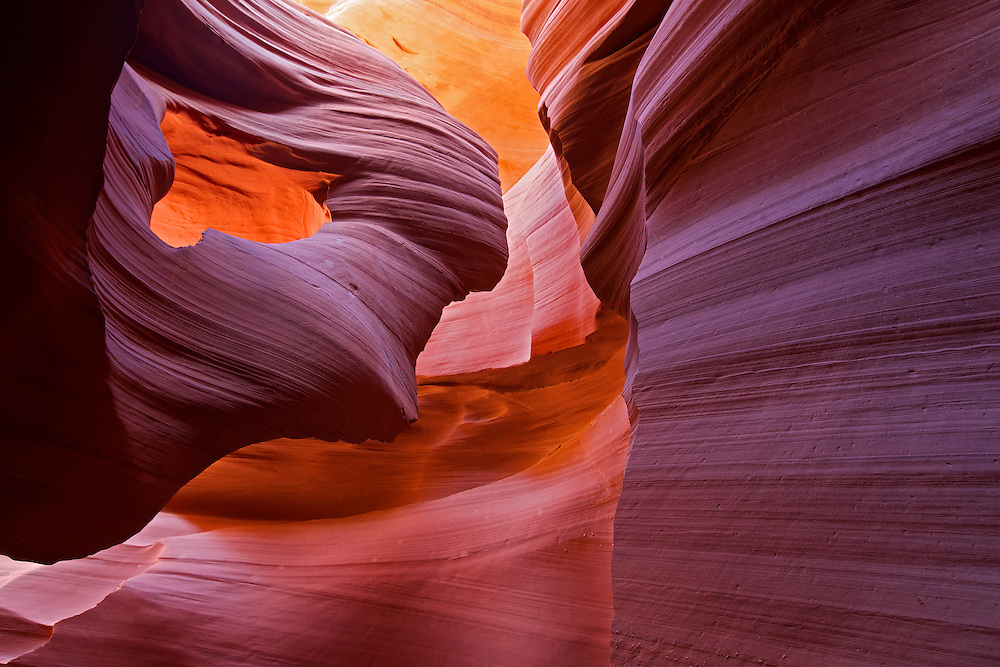 "Sculpted by water, wind and time, this is the sandstone formation called ""Lady in the Wind"" in Lower Antelope Canyon, Page, Arizona."