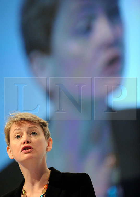 © Licensed to London News Pictures. 29/09/2011. LONDON, UK. Yvette Cooper  MP Shadow Home Secretary delivers a speech at The Labour Party Conference in Liverpool today (2829/09/11). Photo credit:  Stephen Simpson/LNP