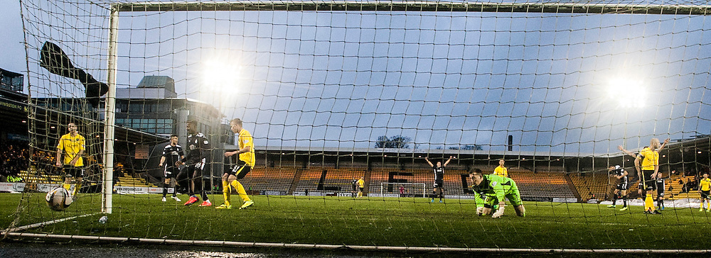 Livingston keeper Darren Jamieson can't stop Falkirk's goal scored by Falkirk's Blair Alston.<br /> Livingston 0 v 1 Falkirk, Scottish Championship played13/12/2014 at The Energy Assets Arena.