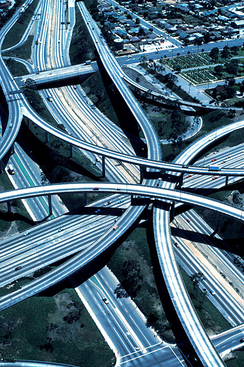 Aerial view of freeway interchange in Los Angeles Southern California USA