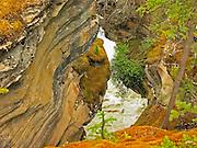 Abandoned slot at Athabasca Falls cut by the Athabasca River.