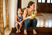 01 APRIL 2013 - BANGKOK, THAILAND:  Arielle Hupe, 4, and her mom, Amy Hupe, in their Bangkok home.    PHOTO BY JACK KURTZ