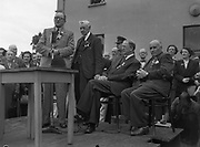 16/07/1952<br /> 07/16/1952<br /> 16 July 1952<br /> Eamon De Valera speaking at opening  day of International Bowling, Clontarf Golf Club Bowling Green, Dublin. Standing on the left is McVicker, A.S., Ballycastle; Chairman of the Irish Bowling Association.