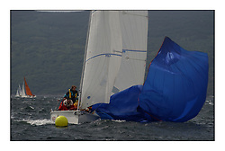 Yachting- The first days inshore racing  of the Bell Lawrie Scottish series 2002 at Tarbert Loch Fyne. Near perfect conditions saw over two hundred yachts compete. <br />Fruit and Nuts (GBR1796L) drops their spinnaker<br />1720 class <br />Pics Marc Turner / PFM