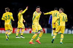 Jonathan Silva of Sporting celebrates scoring a goal to make it 2-1 - Photo mandatory by-line: Rogan Thomson/JMP - 07966 386802 - 10/12/2014 - SPORT - FOOTBALL - London, England - Stamford Bridge - Sporting Clube de Portugal - UEFA Champions League Group G.