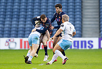 Rugby Union - 2020 / 2021 Guinness Pro-14 - Edinburgh vs Glasgow Warriors - Murrayfield<br /> <br /> Mark Bennett of Edinburgh Rugby is tackled by Nick Grigg of Glasgow Warriors<br /> <br /> COLORSPORT/BRUCE WHITE