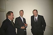 John Morton Morris, Graham Southern and David Dawson, VIP opening of Bill Viola exhibition Love/Death: The Tristan project. Haunch of Venison, St Olave's College, Tooley St. London and Dinner afterwards at Banqueting House. Whitehall. 19 June 2006. ONE TIME USE ONLY - DO NOT ARCHIVE  © Copyright Photograph by Dafydd Jones 66 Stockwell Park Rd. London SW9 0DA Tel 020 7733 0108 www.dafjones.com