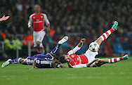 Arsenal's Mathieu Flamini tussles with Anderlecht Andy Kawaya<br /> <br /> - Champions League Group D - Arsenal vs Anderlecht- Emirates Stadium - London - England - 4th November 2014  - Picture David Klein/Sportimage