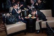 Boy eating spaghetti at the 2014 annual Jackie Robinson Foundation's birthday celebration for Jackie Robinson