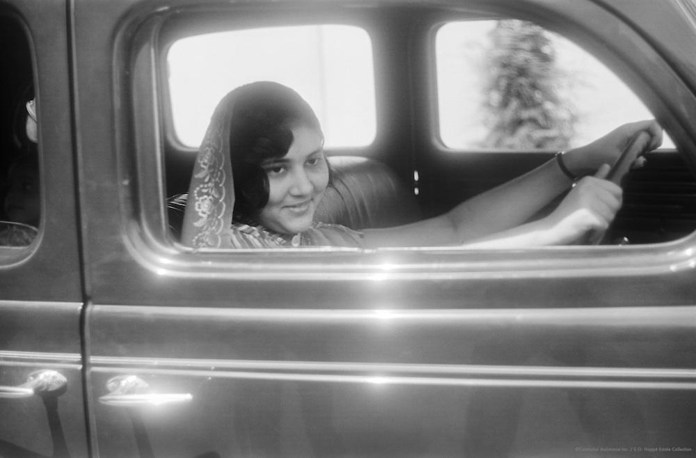 Indian Lady Driving Car, Nairobi, Kenya, Africa, 1937