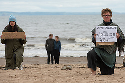Protestors on Portobello Beach, all socially distanced and most wearing masks took a knee at 1pm this afternoon. © Jon Davey/ EEm