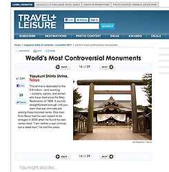 Tearsheet from Travel and Leisure Website ; Yasukuni Shrine Tokyo