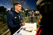 Chris Mepham (33) of AFC Bournemouth signing his autograph for fan as hes arrives at the Vitality Stadium before the Premier League match between Bournemouth and Chelsea at the Vitality Stadium, Bournemouth, England on 30 January 2019.