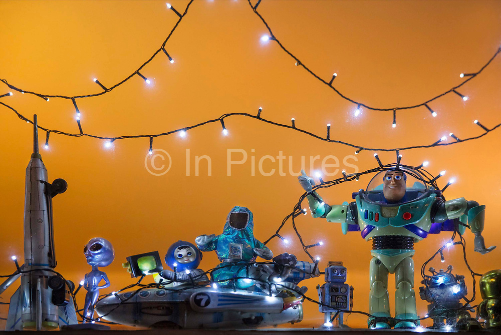 Display in house window of toys in space scene on 13th February, 2020 in London, United Kingdom.