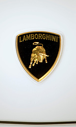 26 October 2013. New Orleans, Louisiana. <br /> Close up of a Lamborghini badge at the NOLA Motorsports Park.<br /> Photo; Charlie Varley<br /> varleypix.com