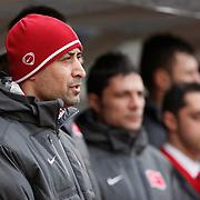 Turkey U21's coach Tolunay Kafkas during their friendly soccer match Turkey U21 betwen Denmark U21 at Recep Tayyip Erdogan stadium in Istanbul February 29, 2012. Photo by TURKPIX