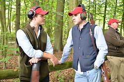 Ted Morrison and Henry Lakin at Young Guns raising money for the fight against breast cancer trough Cancer Research UK held at EJ Churchill Shooting School followed by lunch at West Wycombe Park, England. 23 September 2017.
