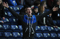 A Blackburn Rovers fan taunts Stoke City fans during his sides 4-1 win<br /> <br /> Photographer Kevin Barnes/CameraSport<br /> <br /> Football - The FA Cup Fifth Round - Blackburn Rovers v Stoke City - Saturday 14th February 2015 -  Ewood Park - Blackburn<br /> <br /> © CameraSport - 43 Linden Ave. Countesthorpe. Leicester. England. LE8 5PG - Tel: +44 (0) 116 277 4147 - admin@camerasport.com - www.camerasport.com