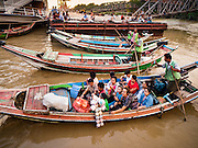 21 OCTOBER 2015 - YANGON, MYANMAR:   Passengers in a cross river ferry at Botataung Pier, near Botataung Paya on the riverfront in Yangon. PHOTO BY JACK KURTZ