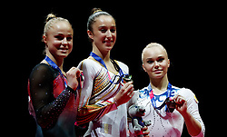Gold medalist in the women's uneven bars Belgium's Nina Derwael (centre) alongside silver medalist Sweden's Jonna Adlerteg (left) and Russia's Angelina Melnikova  during day four of the 2018 European Championships at The SSE Hydro, Glasgow. PRESS ASSOCIATION Photo. Picture date: Sunday August 5, 2018. See PA story SPORT European. Photo credit should read: John Walton/PA Wire. RESTRICTIONS: Editorial use only, no commercial use without prior permission