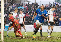 Rangers Alfredo Morelos celebrates scoring his side's fourth goal of the game during the William Hill Scottish Cup, fifth round match at Somerset Park, Ayr.