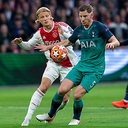 08-05-2019 NED: Semi Final Champions League AFC Ajax - Tottenham Hotspur, Amsterdam<br /> After a dramatic ending, Ajax has not been able to reach the final of the Champions League. In the final second Tottenham Hotspur scored 3-2 / Kasper Dolberg #25 of Ajax, Jan Vertonghen #5 of Tottenham Hotspur