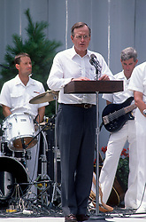 United States President George H.W. Bush makes remarks during a Barbeque on the South Lawn of the White House in Washington, D.C. to commemorate the 20th anniversary of the Apollo 11 Moon landing on July 20, 1989.<br /> Credit: Ron Sachs / CNP /ABACAPRESS.COM
