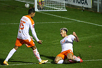 Blackpool's Jordan Lawrence-Gabriel celebrates scoring his side's third goal with Demetri Mitchell<br /> <br /> Photographer Alex Dodd/CameraSport<br /> <br /> FA Cup Second Round - Harrogate Town v Blackpool - Saturday 28th November 2020 - Wetherby Road - Harrogate <br />  <br /> World Copyright © 2020 CameraSport. All rights reserved. 43 Linden Ave. Countesthorpe. Leicester. England. LE8 5PG - Tel: +44 (0) 116 277 4147 - admin@camerasport.com - www.camerasport.com