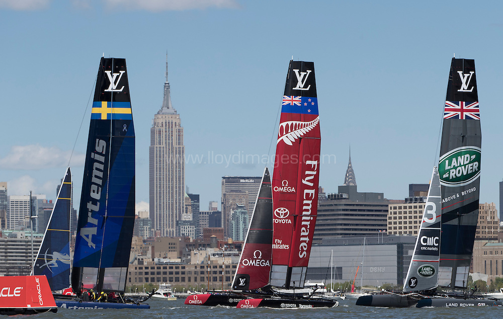 NEW YORK, NY - MAY 8: LandRover BAR, skippered by Ben Ainslie during Day 2 of the Louis Vuitton Americas Cup World Series Racing on May 8, 2016 on the Hudson River in New York City.  (Photo by Lloyd Images