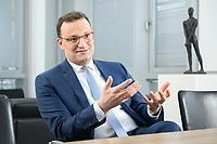 05 MAY 2021, BERLIN/GERMANY:<br /> Jens Spahn, CDU, Bundesgesundheitsminister, wahrend einem Interview, in seinem Buero, Bundesministerium fur Gesundheit<br /> IMAGE: 202105005-01-001