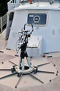 Israel, Haifa, The Clandestine Immigration and Navy Museum The 20mm cannon on a Dabur class patrol boat