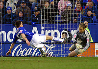 Photo: Dave Linney.<br />Leicester City v Wolverhampton Wanderers. Coca Cola Championship. 04/02/2006.Leicester forward Matty Fryatt(L) fires home past   Stefan Postma